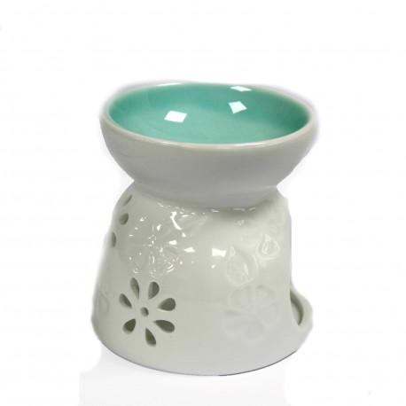 Klasická biela aroma lampa Kvetinový vzor